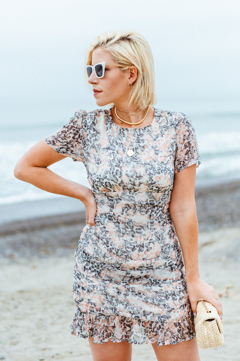 Leopard Mini Dress, Cap sleeve ruched mini dress, cocktail dress, wedding attire, summer event outfit, date night dress