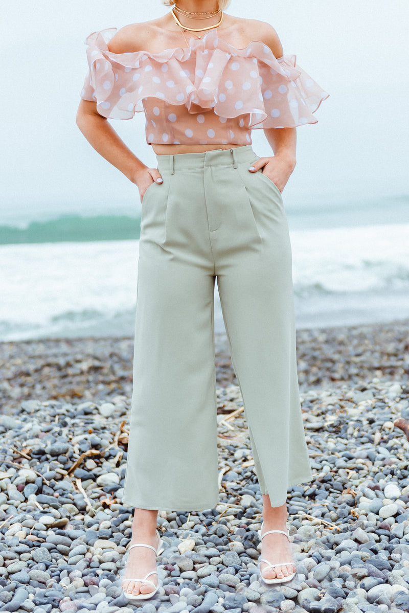 Work Attire, Work Pant, Light Olive High Rise Wide Leg Crop Pant,
