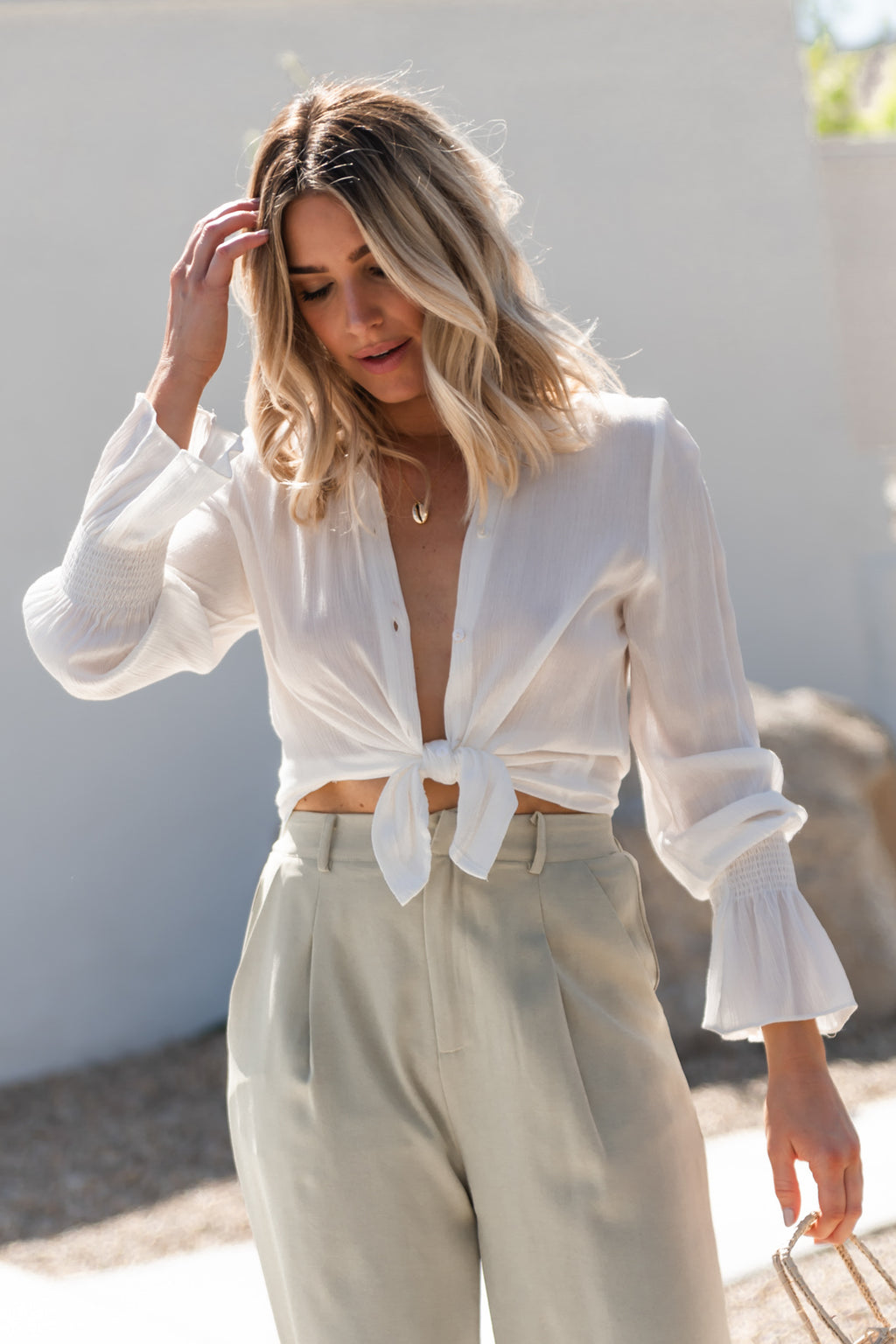 Ruffle Cuff Button Up
