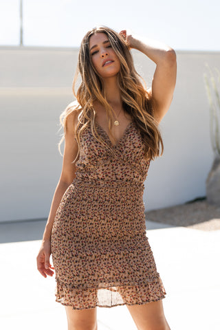 Leopard Cap Sleeve Mini Dress