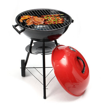 Portable Red Kettle Trolley BBQ Grill Charcoal Barbecue Wood Barbeque Picnic BBQ Grill