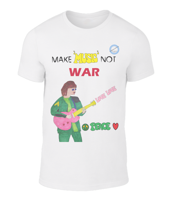 Fashion and style written all over this t-shirt - Make music not war.