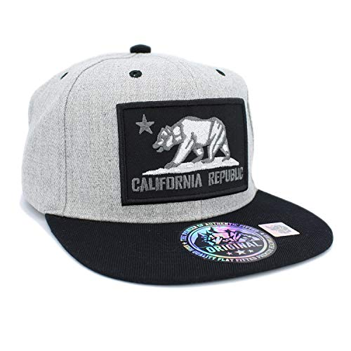 Embroidered California Republic Bear in Square Patch Snapback