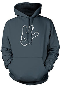 Men's Cartoon Glove Hand West Side Sign Hooded Sweatshirt