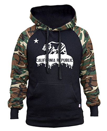 Men's Dripping California Republic Black/Camo Raglan Baseball Hoodie Black