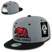 Load image into Gallery viewer, California Republic Red Bear Snapback On Grey/Black Hat
