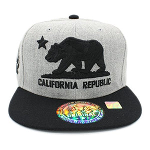 Embroidered California Republic With Bear Claw Scratch Snapback