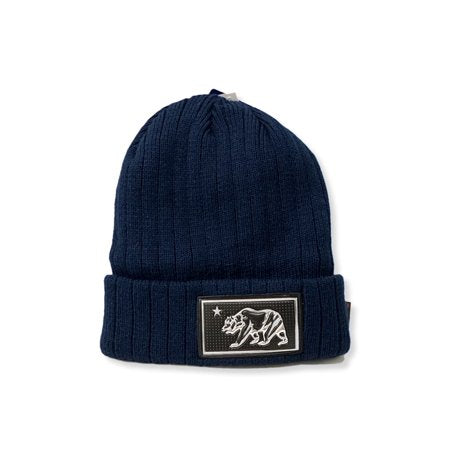 California Bear Fleece Knit Beanie - Navy