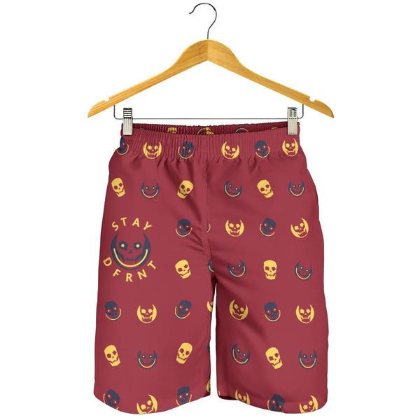 dfrnt HAPPY SKULL | RED YELLOW | mens shorts
