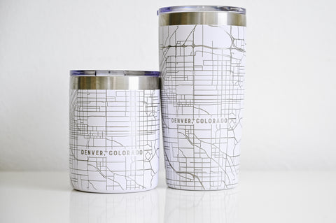 Customized tumblers etched 360 degrees with detailed maps of any location for a bachelor or bachelorette party