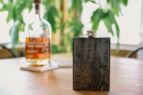 A custom flask etched with a detail maps of any location for groomsmen gifts
