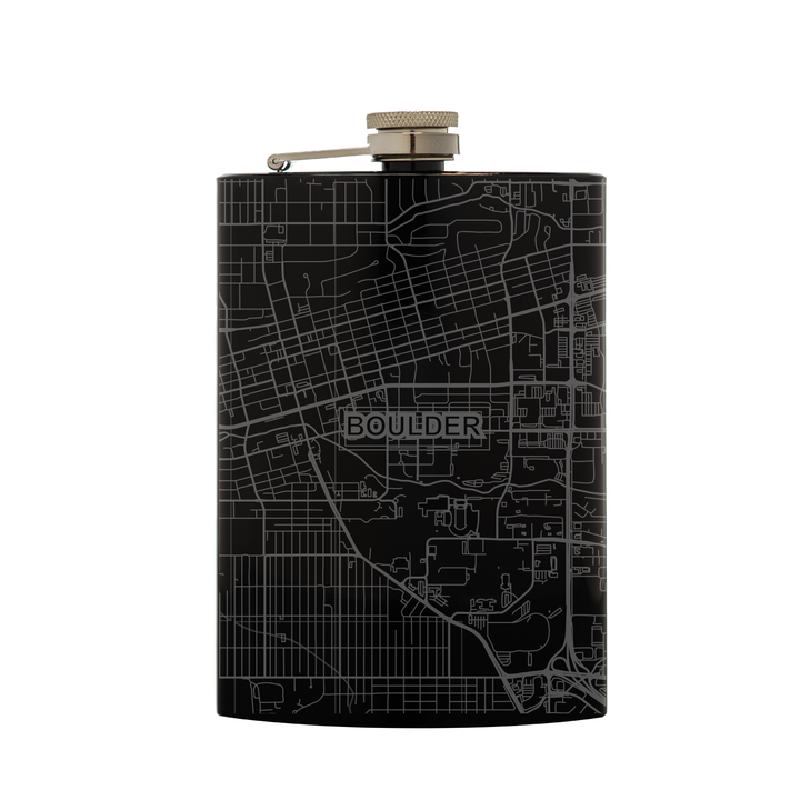 Stainless steel black flask (8 oz) etched with a detailed map of Boulder, Colorado