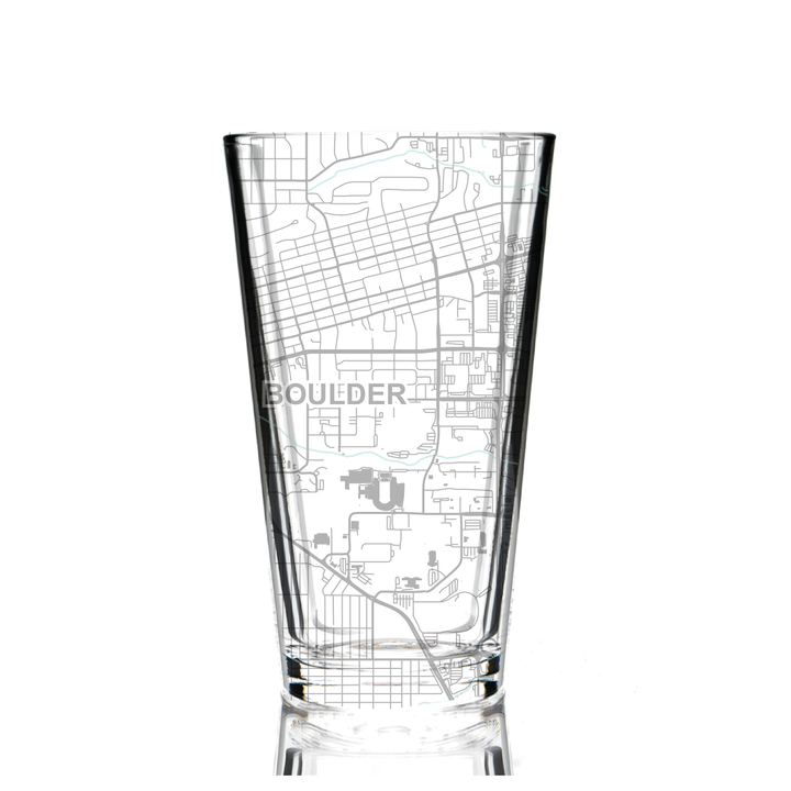 Pint glass (16 oz) etched with a detailed map of Boulder, CO