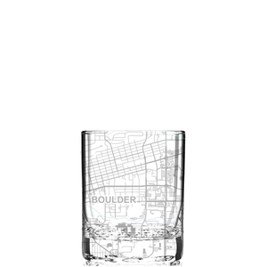Rocks glass (11 oz) etched with a detailed map of Boulder, Colorado