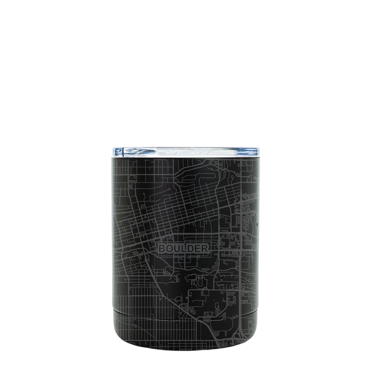 Stainless steel black tumbler (10 oz) etched 360 degrees with a detailed map of Boulder, Colorado