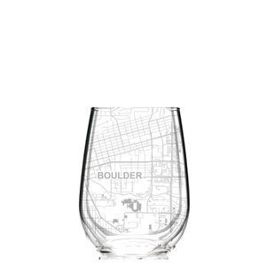 Stemless wine glass etched with a detailed map of Boulder, Colorado