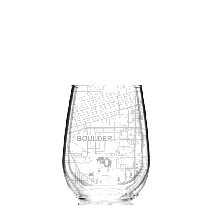 Stemless Wine Glass - Boulder, Colorado Map