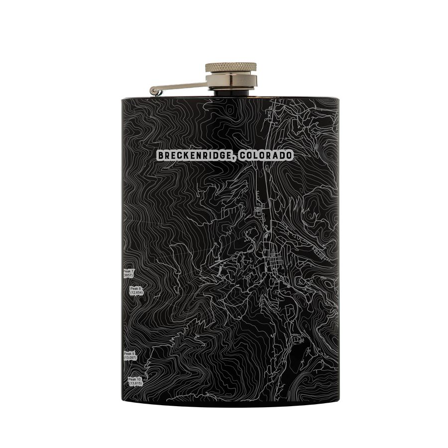 Stainless steel black flask (8 oz) etched with a detailed map of Breckenridge, Colorado