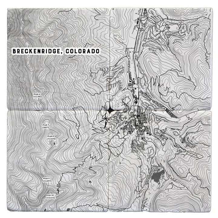 Marble Coasters - Breckenridge, Colorado Map -  Set of Four