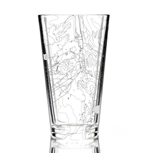Pint glass (16 oz) etched with a detailed map of Breckenridge, CO