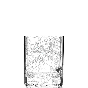 Rocks glass (11 oz) etched with a detailed map of Breckenridge, Colorado