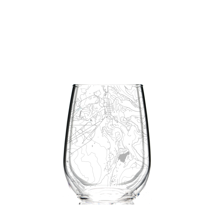 Stemless wine glass etched with a detailed map of Breckenridge, Colorado