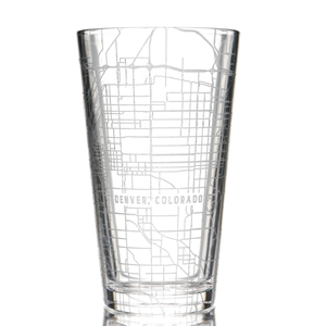 Customized pint glass (16 oz) etched with a detailed map of any location