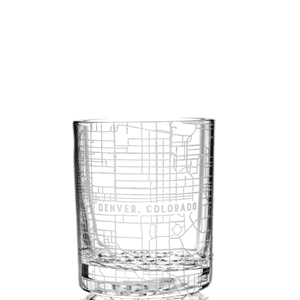 Customized rocks glass (11 oz) etched with a detailed map of any location