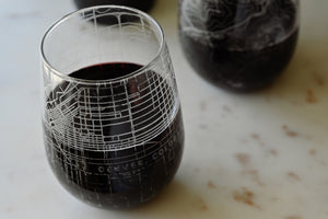 Stemless wine glass etched with a detailed map of Denver, Colorado
