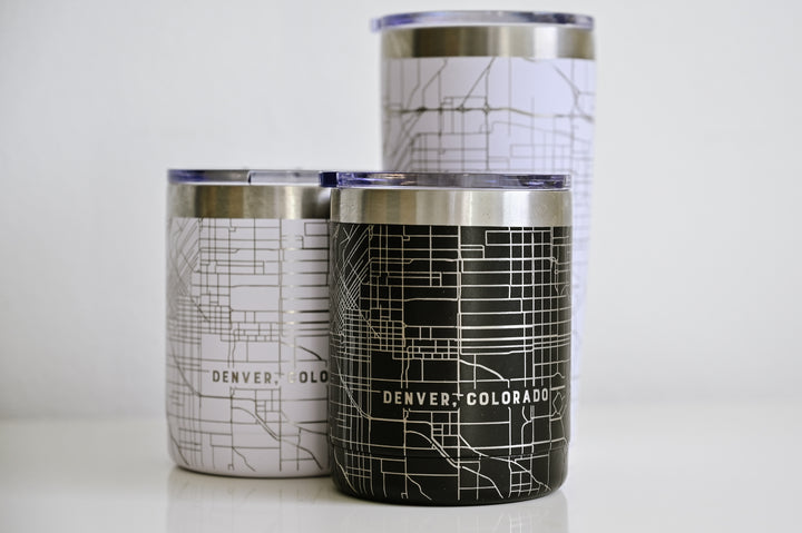 Black or white stainless steel black or white tumblers (10 oz) etched 360 degrees with a detailed map of Denver, Colorado