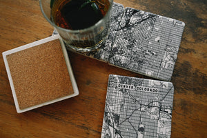 Custom Map Marble Coasters - Set of Four