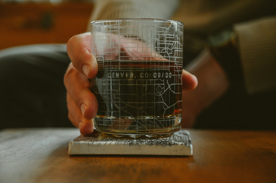 Rocks glass (11 oz) etched with a detailed map of Denver, Colorado