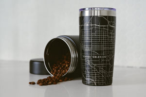 Customized stainless steel black tumbler (20 oz) etched 360 degrees with a detailed map of any location, also available in white.