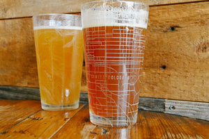 Two customized pint glasses (16 oz) etched with a detailed map of any location