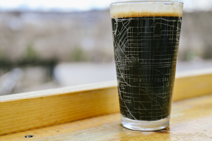 Pint glass (16 oz) etched with a detailed map of Denver, Colorado