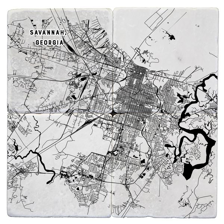 Marble Coasters - Savannah, Georgia Map -  Set of Four
