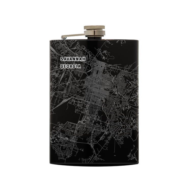 Stainless steel black flask (8 oz) etched with a detailed map of Savannah, Georgia