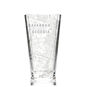 Pint glass (16 oz) etched with a detailed map of Savannah, Georgia