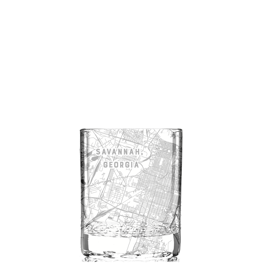 Rocks glass (11 oz) etched with a detailed map of Savannah, Georgia