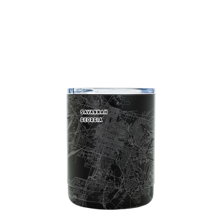 Stainless steel black tumbler (10 oz) etched 360 degrees with a detailed map of Savannah, GA