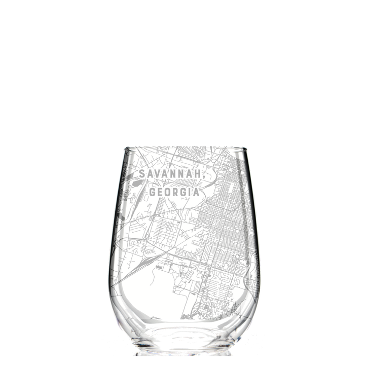 Stemless Wine Glass - Savannah, Georgia Map