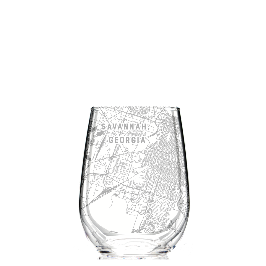 Stemless wine glass etched with a detailed map of Savannah, Georgia