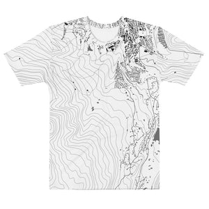 White t-shirt printed with a map of Breckenridge, Colorado