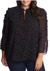 Cece Ruffled Floral Print Blouse