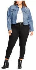 City Chic Studded Denim Jacket The Curvy Shop