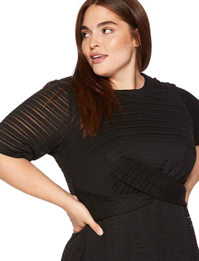 london times fit and flare dress black women plus-size fashion the curvy shop