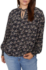 Sanctuary Tie Neck Floral Blouse The Curvy Shop