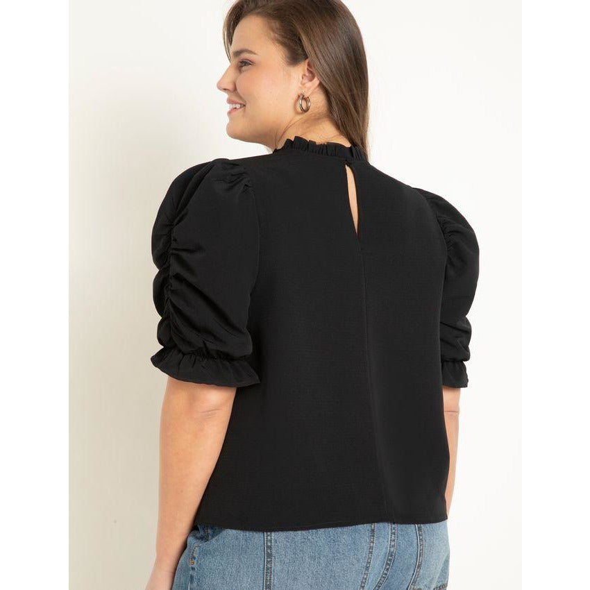Eloquii Ruched Sleeve Blouse