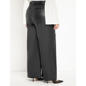 Eloquii Tie Waist Wide Leg Faux Leather Pant