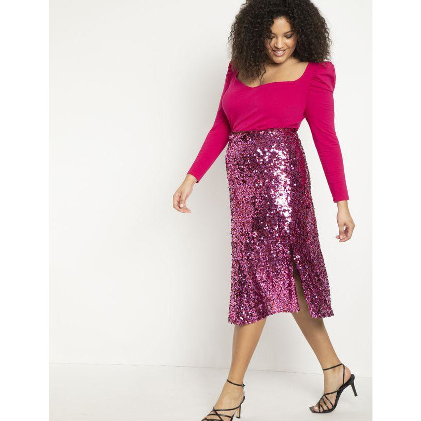 Eloquii Sequin Skirt with Slits